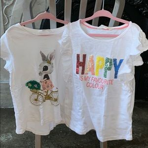H&M Shirts & Tops - 2 H&M adorable t-shirts.   Size 6. Great for bts